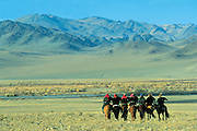 Kazakhs leaving Festival with their Golden Eagles<br />