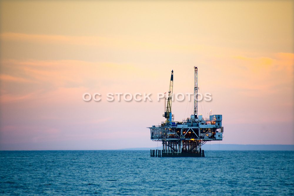Off Shore Oil Platform at Sunset in Seal Beach