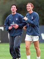Ray Parlour and Robbie Fowler share a joke  England training, 3/10/2000, Bisham Abbey. Credit Colorsport / Stuart MacFarlane.