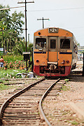 Mar 22, 2009 -- The train from Samut Songkhram pulls into the station in Samut Sakhon, Thailand. The Mahachai Rail Line is a commuter line that runs from the Wong Wian Yai train station in the Thonburi section of Bangkok to the fishing port and market town of Samut Sakhon, which used to be known as Mahachai. A second line from Baan Laem to Samut Songkhram, another fishing port south of Samut Sakhon. Each stretch of the line takes about an hour.    Photo by Jack Kurtz