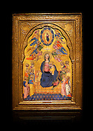 Gothic altarpiece of Madonna Of Humility With The Eternal Father In Glory, by Cenni di Francesco di Ser Cenni of Florence, circa 1375-80, tempera and gold leaf on wood. The Madonna and Child are depicted with the 12 apostles. National Museum of Catalan Art, Barcelona, Spain, inv no: MNAC  212805. Against a black background. . .<br /> <br /> If you prefer you can also buy from our ALAMY PHOTO LIBRARY  Collection visit : https://www.alamy.com/portfolio/paul-williams-funkystock/gothic-art-antiquities.html  Type -     MANAC    - into the LOWER SEARCH WITHIN GALLERY box. Refine search by adding background colour, place, museum etc<br /> <br /> Visit our MEDIEVAL GOTHIC ART PHOTO COLLECTIONS for more   photos  to download or buy as prints https://funkystock.photoshelter.com/gallery-collection/Medieval-Gothic-Art-Antiquities-Historic-Sites-Pictures-Images-of/C0000gZ8POl_DCqE