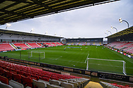 A general view of Leigh Sports Village during the FA Women's Super League match between Manchester United Women and Arsenal Women FC at Leigh Sports Village, Leigh, United Kingdom on 8 November 2020.