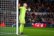 Middlesbrough goalkeeper Brad Guzan (12)   during the The FA Cup match between Middlesbrough and Sheffield Wednesday at the Riverside Stadium, Middlesbrough, England on 8 January 2017. Photo by Simon Davies.