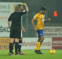 Colin Daniel of Blackpool is booked<br /> <br /> Photographer James Williamson/CameraSport<br /> <br /> The EFL Sky Bet League Two - Mansfield Town v Blackpool - Tuesday 22nd November 2016 - One Call Stadium - Mansfield<br /> <br /> World Copyright © 2016 CameraSport. All rights reserved. 43 Linden Ave. Countesthorpe. Leicester. England. LE8 5PG - Tel: +44 (0) 116 277 4147 - admin@camerasport.com - www.camerasport.com