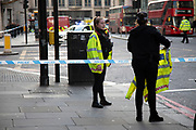 The City of London is locked down by Metropolitan and City Police following what is believed to have been a terror-related incident on London Bridge at around 2pm on 29th November 2019 in London, United Kingdom. Police officers cordoned off the bridge, underpass and all surrounding roads following the incident during which members of the public intervened before shots were fired by armed police. The incident is said to have started as a stabbing during which a number of people were stabbed in a building near London Bridge.