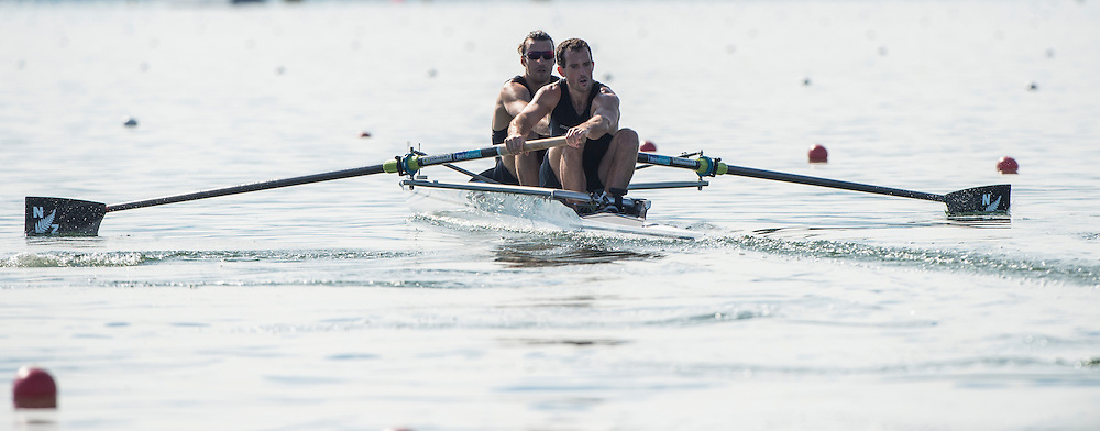 Varese. ITALY.  NZL. <br /> Bow. MCINNES, Patrick<br /> and DICKINSON, Axel.  2015 FISA World Cup II Venue Lake Varese. Friday  19/06/2015 [Mandatory Credit: Peter Spurrier/Intersport images]