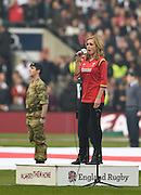 Twickenham. Great Britain.<br /> Singing the Welsh Antem, Katherine JENKINS OBE.<br /> RBS Six Nations Rugby, England vs Wales at the RFU Twickenham Stadium. England.<br /> <br /> Saturday  12/03/2016 <br /> <br /> [Mandatory Credit; Peter Spurrier/Intersport-images]