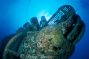 diver explores Cayman Salvager wreck, sunk as an artificial reef off Key West, Florida ( Western Atlantic Ocean ) MR 78