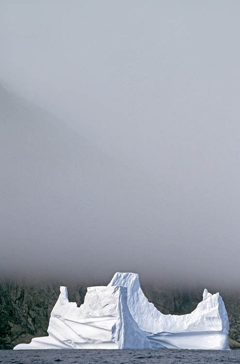 EAST GREENLAND, Ammasalik area, iceberg and mountain contour through morning mist