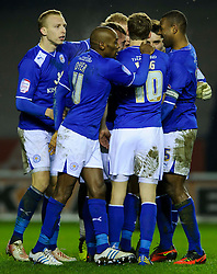 Leicester players gather round Goalkeeper Kasper Schmeichel (DEN) who made a crucial penalty save in their 1-0 victory - Photo mandatory by-line: Rogan Thomson/JMP - Tel: Mobile: 07966 386802 18/01/2013 - SPORT - FOOTBALL - King Power Stadium - Leicester. Leicester City v Middlesbrough - npower Championship.