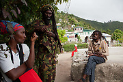 'School of Vision' Rastafarian community in the Blue Mountains on the outskirts of Kingston, St Andrew, Jamaica. In the community around 40 people live, growing food, worshipping and raising their families. Some of them work in Kingston or around, others live solely from the land.