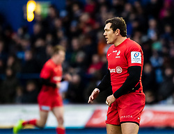 Alex Goode of Saracens<br /> <br /> Photographer Simon King/Replay Images<br /> <br /> European Rugby Champions Cup Round 4 - Cardiff Blues v Saracens - Saturday 15th December 2018 - Cardiff Arms Park - Cardiff<br /> <br /> World Copyright © Replay Images . All rights reserved. info@replayimages.co.uk - http://replayimages.co.uk