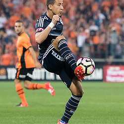 BRISBANE, AUSTRALIA - OCTOBER 7: Daniel Georgievski of the Victory controls the ball during the round 1 Hyundai A-League match between the Brisbane Roar and Melbourne Victory at Suncorp Stadium on October 7, 2016 in Brisbane, Australia. (Photo by Patrick Kearney/Brisbane Roar)