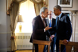 President Barack Obama speaks with Prince Saud Al-Faisal, Foreign Minister of Saudi Arabia following a meeting with Arab coalition leaders in the fight against the terrorist group ISIL in Iraq and Syria, at the Waldorf Astoria Hotel in New York, N.Y., Sept. 23, 2014. (Official White House Photo by Pete Souza)<br /> <br /> This official White House photograph is being made available only for publication by news organizations and/or for personal use printing by the subject(s) of the photograph. The photograph may not be manipulated in any way and may not be used in commercial or political materials, advertisements, emails, products, promotions that in any way suggests approval or endorsement of the President, the First Family, or the White House.