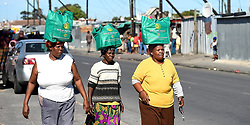 South Africa - Cape Town - 29 April - 2020 - Gladys Kwepile,Phatheka Memeza and Lulama Mbengashe  from Zwelitsha in Nyanga are  of the elderly people who benefited from the donated food parcels by the Gift of the Givers.The NGO donated more than 200 food parcels to the poor people of Nyanga,there has been a problem of food mostly in poor communities because of the convid -19 national lockdown .photographer Phando Jikelo/african News Agency(ANA)