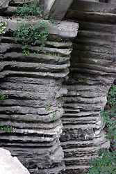 25 September 2012:   Illinois scenery near Oglesby and Ottawa..Matthiessen State Park.  rock formation that gives support to the lake bridge