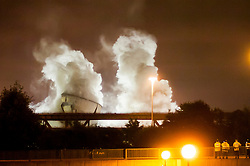Tinsley Cooling Towers, a Sheffield industrial landmark at Junction 34 of the M1 motorway for 70 years are demolished at 03:00 on August 24th 2008<br /> <br /> 24 August 2008 © Paul David Drabble