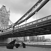 Tower Bridge North East Bank - London - Black & White