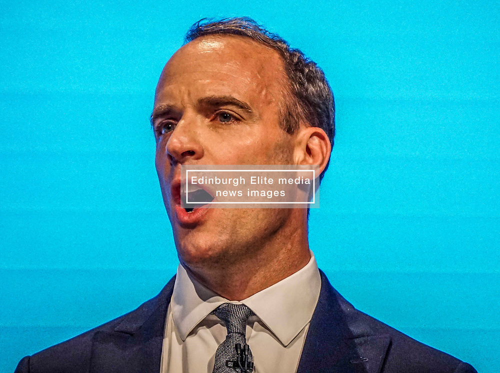 Pictured :  Dominic Raab, First Secretary of State and Secretary of State for Foreign and Commonwealth Affairs    speaks  to delegates   on the first day at the Conservative Party Conference<br /> <br /> <br /> Giannis Alexopoulos | EEm 29/09/2019