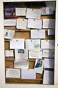 Community notices on a noticeboard, Halesworth, Suffolk, England