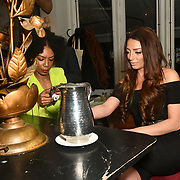 Tonique Campbell and Lois Bowden Bachelor girls contestant attend The Bachelor UK 2019 launch night - The girls private screening on Channel 5 at Beach Blanket Babylon on 4 March 2019, London, UK