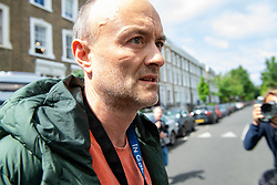 © Licensed to London News Pictures. 24/05/2020. London, UK.  Dominic Cummings, the senior adviser to UK Prime Minister Boris Johnson, outside his home in north London. Cummings is under fire for allegedly breaking government rules   during the pandemic lockdown. Photo credit: Peter Manning/LNP