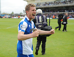 Bristol Rovers' Lee Mansell celebrates after the final whistle is blown. - Photo mandatory by-line: Nizaam Jones /JMP - Mobile: 07966 386802 - 03/05/2015 - SPORT - Football - Bristol - Memorial Stadium - Bristol Rovers v Forest Green Rovers - Vanarama Football Conference.