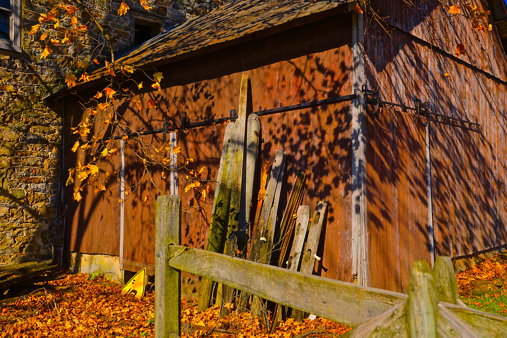 Shed at abandoned mill and Greismer's Covered Bridge, Berks Co., PA