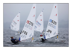 Sandy Fauthoux, FRA 193788, Kanako Hiruta, JPN 196299,.Opening races in breezy conditions for the Laser Radial World Championships, taking place at Largs, Scotland GBR. ..118 Women from 35 different nations compete in the Olympic Women's Laser Radial fleet and 104 Men from 30 different nations. .All three 2008 Women's Laser Radial Olympic Medallists are competing. .The Laser Radial World Championships take place every year. This is the first time they have been held in Scotland and are part of the initiaitve to bring key world class events to Britain in the lead up to the 2012 Olympic Games. .The Laser is the world's most popular singlehanded sailing dinghy and is sailed and raced worldwide. ..Further media information from .laserworlds@gmail.com.event press officer mobile +44 7775 671973  and +44 1475 675129 .