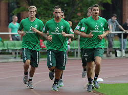 29.06.2011, Platz 11, Bremen, GER, 1.FBL, Laktattest Werder Bremen, im Bild Felix Kroos (Bremen #18), Marko Arnautovic (Bremen #7), Philipp Bargfrede (Bremen #44), Sebastian Mielitz (Bremen #21)   // during the training session from Werder Bremen    EXPA Pictures © 2011, PhotoCredit: EXPA/ nph/  Frisch       ****** out of GER / CRO  / BEL ******