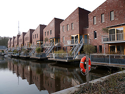 Modern residential housing in city of Leiden in the Netherlands