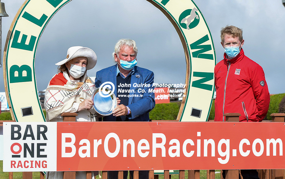 Owners  of 'Highstreet Roller', Nanette and Leonard Kinsella from Slane, with their trophy  at Bellewstown Races. Also in photo is John McDonnell of 'Bar one Racing'<br /> <br /> Photo: GERRY SHANAHAN-WWW.QUIRKE.IE<br /> <br /> 03-07-2021