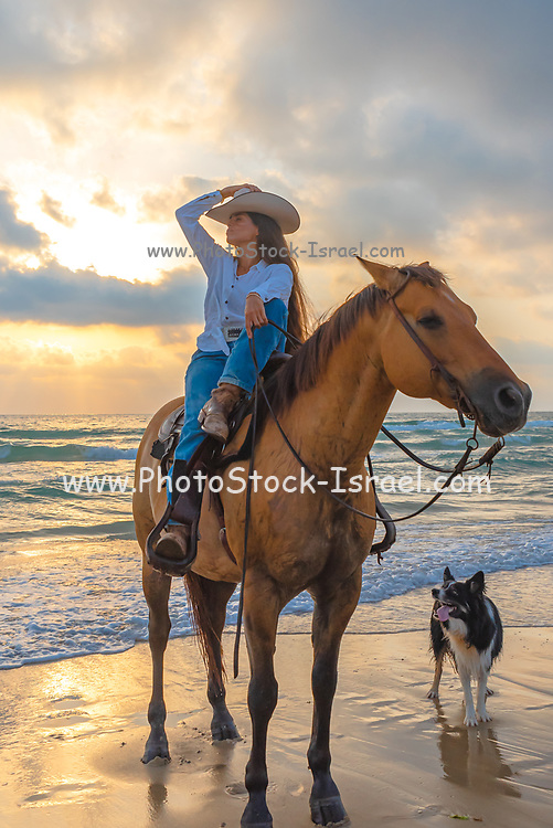 Young woman horseback riding at the water's edge on a Mediterranean beach at sunset