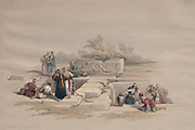 Fountain at Cana 1839 Color lithograph by David Roberts (1796-1864). An engraving reprint by Louis Haghe was published in a the book 'The Holy Land, Syria, Idumea, Arabia, Egypt and Nubia. in 1855 by D. Appleton & Co., 346 & 348 Broadway in New York.