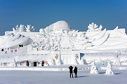 Large snow sculptures at the annual Snow sculpture festival in winter 2009 in Harbin, China