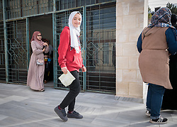16 February 2020, Irbid, Jordan: Families exit the Islamic Centre in Al-Mazar after participating in psychosocial support sessions for Syrian refugees and Jordanian host communities organized by the Lutheran World Federation.