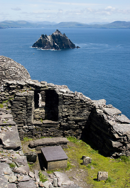 Grave at the hermitage on Skellig Michael; Little Skellig in distance; County Kerry, Ireland
