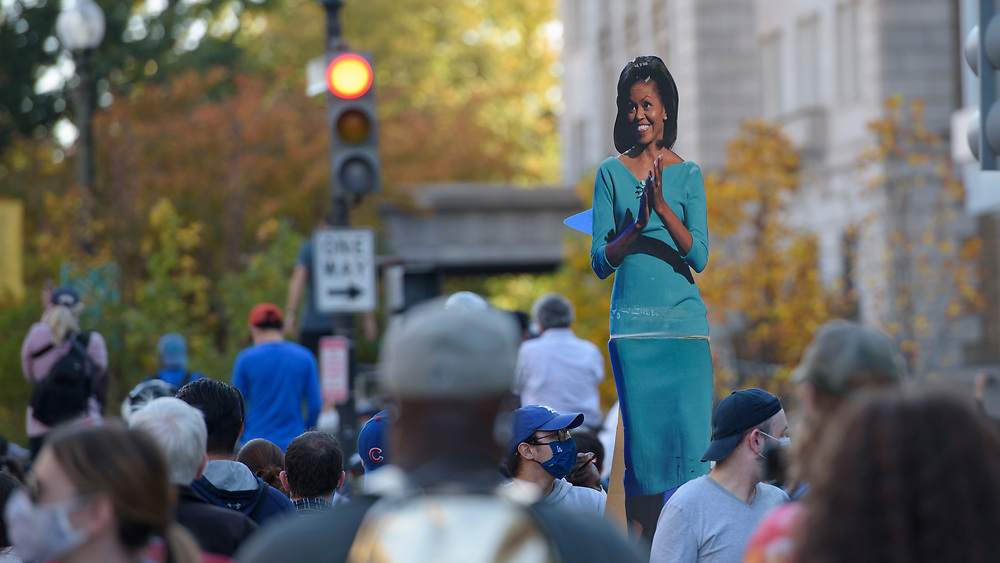 People from Baltimore-Washington Area gather around the White House to celebrate the announcement of Joe Biden's election as the Next President of the United States.