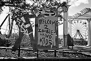 Welcome 2 Zombieland Kids sign on Main Street Square at Six Flags in East New Orleans.