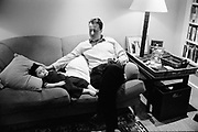 David Cameron, Conservative Party Leader and Conservative MP for Whitney, Oxfordshire, UK at home with his child.