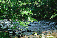 Mountain stream at Mountain Farm Museum, Oconaluftee, N.C.USA.