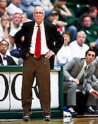 SHOT 1/28/12 3:49:37 PM - San Diego State University head basketball coach Steve Fisher coaches from the sidelines during their regular season Mountain West conference game against Colorado State at Moby Arena in Fort Collins, Co. Colorado State upset 12th ranked San Diego State 77-60. (Photo by Marc Piscotty / © 2012)