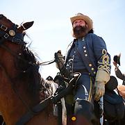 A reenactor at the 147th annual Gettysburg Civil War battle reenactment in Gettysburg, Pennsylvania.