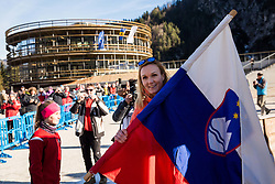 Petra Majdic with Slovenian flag at official opening of the new Nordic centre Planica, on December 11, 2015 in Planica, Slovenia. Photo by Vid Ponikvar / Sportida