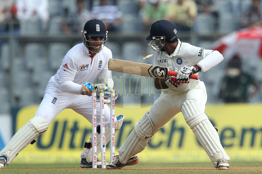 Matt Prior of England stumps Cheteshwar Pujara of India during day 2 of the 2nd Airtel Test match between India and England held at the Wankhede Stadium in Mumbai, India on the 24th November 2012...Photo by Ron Gaunt/ BCCI/ SPORTZPICS..Use of this image is subject to the terms and conditions as outlined by the BCCI. These terms can be found by following this link:..http://www.sportzpics.co.za/image/I0000SoRagM2cIEc