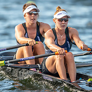 Zoe McBride (bow) & Jackie Kiddle  Race the premier double sculls<br /> <br /> Racing the Christmas Regatta on Lake Karapiro, Cambridge, New Zealand. Saturday 14 December 2019  © Copyright photo Steve McArthur / www.photosport.nz