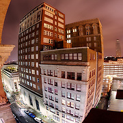 A fisheye view of the 21 Ten Condominiums at 10th and Baltimore, in the character-filled Library District of Downtown Kansas City, Missouri, on the night of the Fourth of July, 2010.