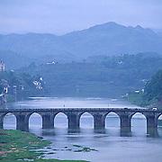 China, Cities, Shexian River near city of Shexian.