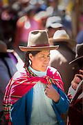 Quechua woman in traditional dress, Chinchero Town Sunday Market, Cusco region, Peru, South America