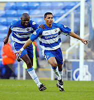 Photograph: Scott Heavey.<br />Reading v Millwall. Nationwide Division One. 15/11/2003.<br />John Salako celebrates his first half goal with Shaun Goater (behind)